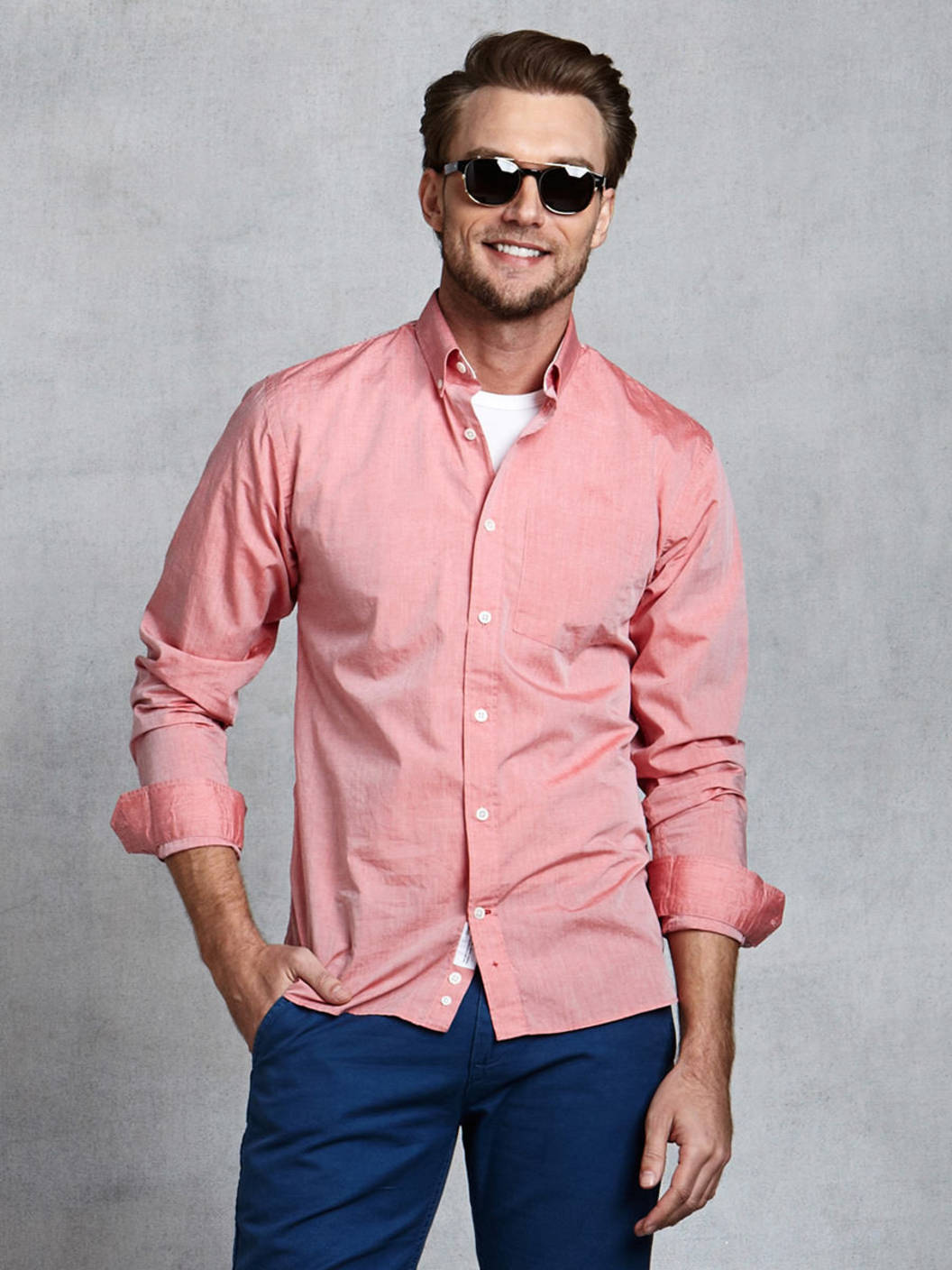 Salmon Pink Mens Shirt - Greek T Shirts